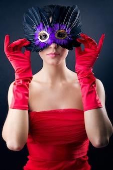 Seductive person mask clothing lifestyle