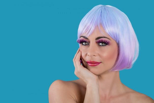 Seductive vogue woman with purple hair