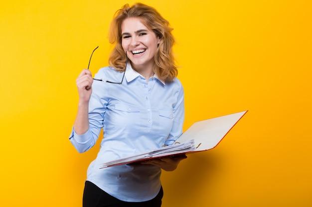 Seductive woman with big folder