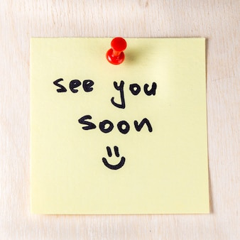 See you soon note on paper post it