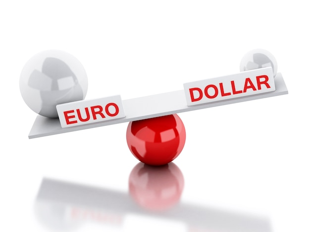 Seesaw balance euro and dollar