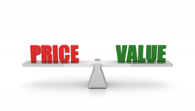 Seesaw with price value words