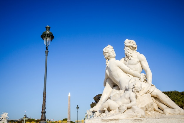 The seine and the marne statue in tuileries garden, paris