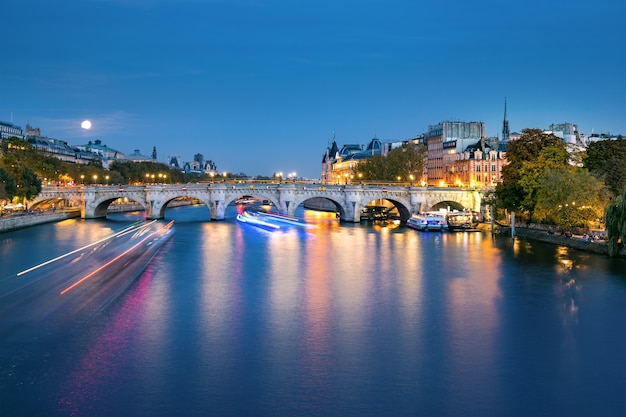 The seine river in paris at night