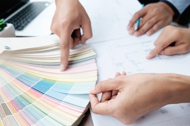 Select colour form colour swatch for house project.
