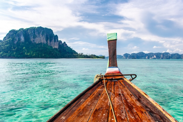 Selected focus on front of a long tail boat at krabi sea