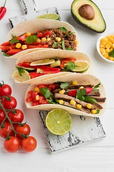 Selection of delicious mexican food with meat and vegetables