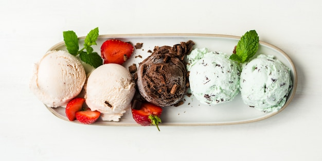 Selection of different ice cream scoops