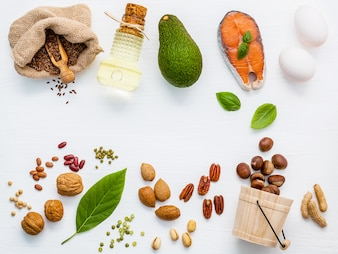 Selection food sources of omega 3 and unsaturated fats for healthy food.