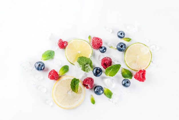 Selection of fresh fruit and berries top view