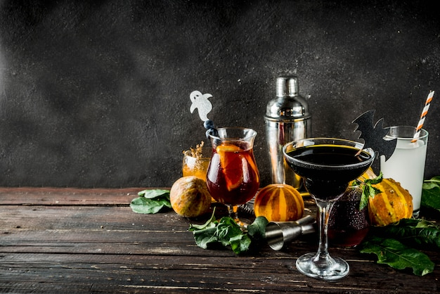 Selection of halloween cocktail drinks