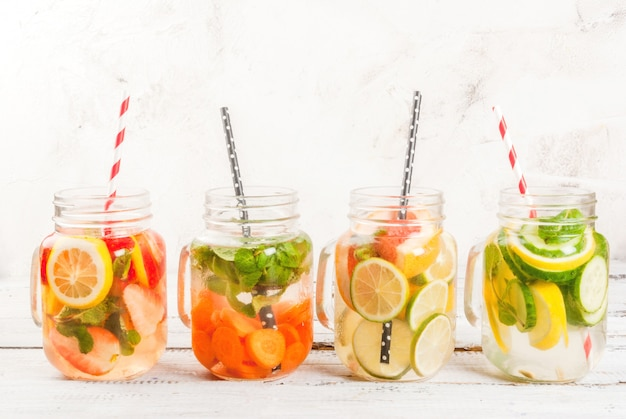 Selection of infused refreshing waters