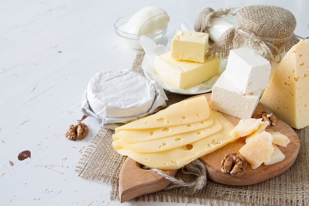 Selection of milk and dairy products