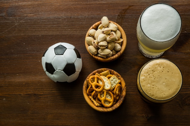 Selection of party food for watching football championship