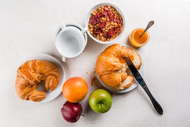 Selection products for continental breakfast