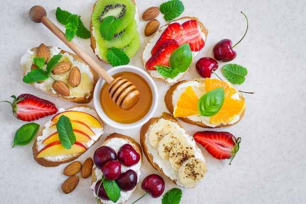 Selection of summer colorful natural healthy snacks.