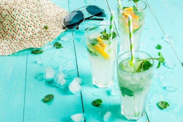 Selection of summer refreshing cocktails