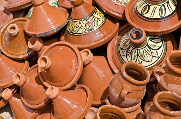 Selection of tagine and more potteries on market in morocco