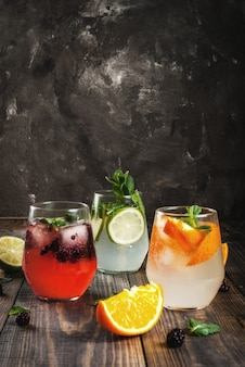 Selection of three kinds of gin tonic