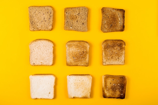 A selection of toast bread for breakfast