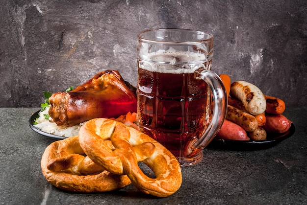 Selection of traditional oktober german food