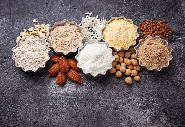 Selection of various gluten free flour (almond, buckwheat, rice, chick peas and oat)