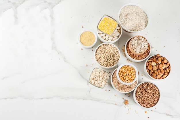 Selection various types cereal grains groats