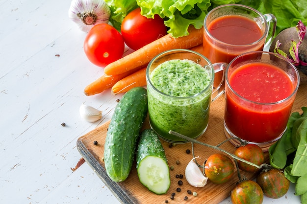 Selection of vegetables and juice