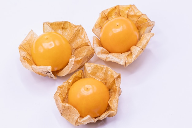 Selective focus  close up cape gooseberry fruits (physalis peruviana)isolated on white background.