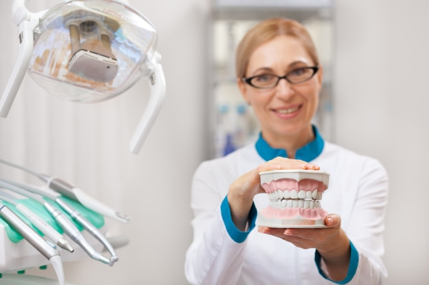 Selective focus on a dental mold in the hands of a mature female dentist