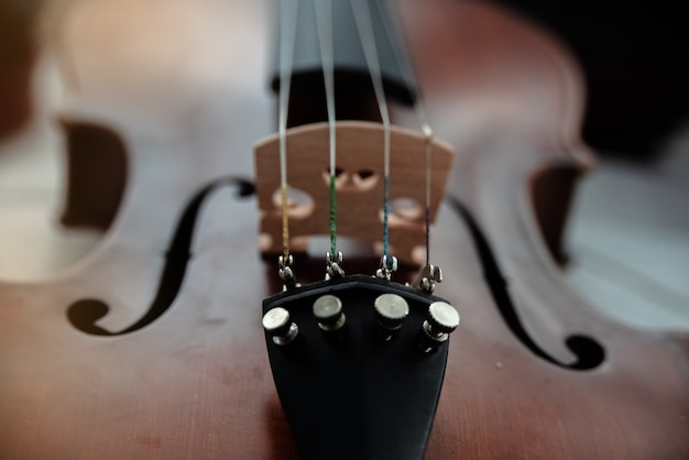In selective focus of fine tuners on front side of violin, parts of the instrument