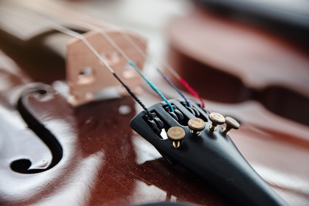 In selective focus of fine tuners on front side of violin
