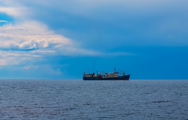 Selective focus. the fishing vessel for fishing in the sea.