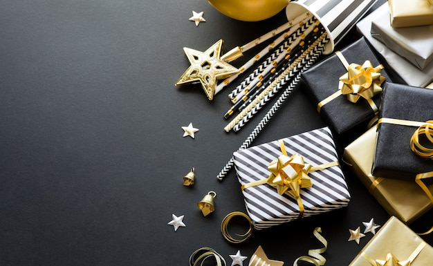 Selective focus/group of gift box and party ornament.merry christmas,xmas and new year celebration concepts.copy space