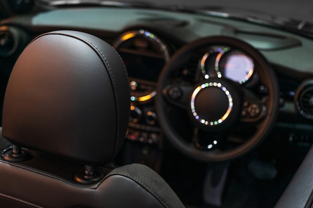 Selective focus of luxuary super car interior design for background.