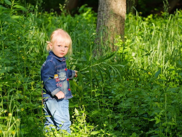 Селективный фокус на маленькой блондинке, выглядывающей из густой зеленой травы