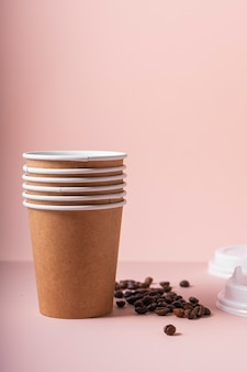Selective focus. paper cups for hot drinks coffee and tea