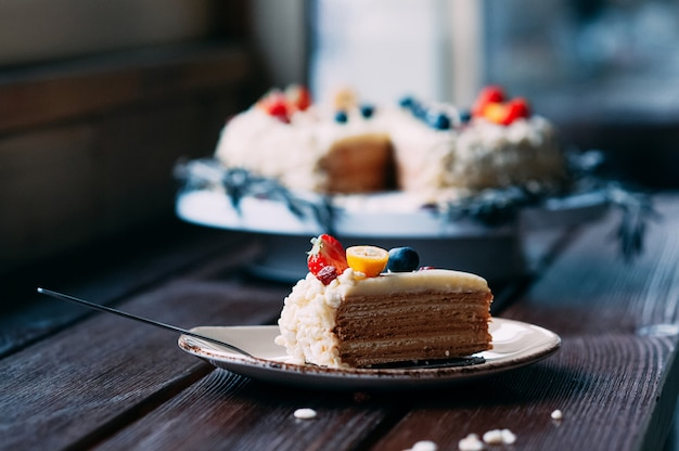 Selective focus piece of cake on a plate