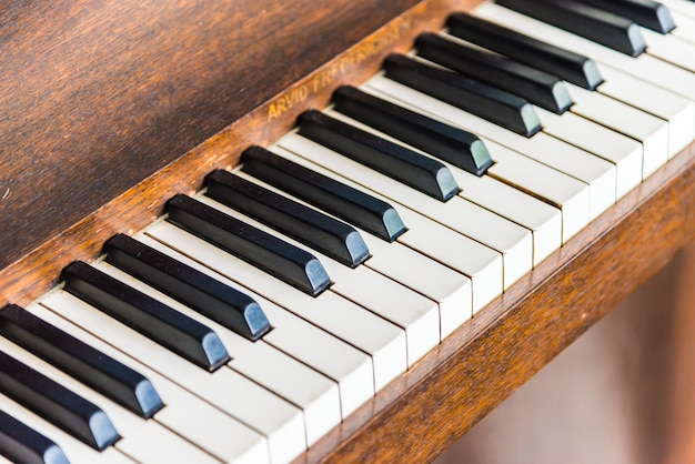 Selective focus point on vintage piano keys