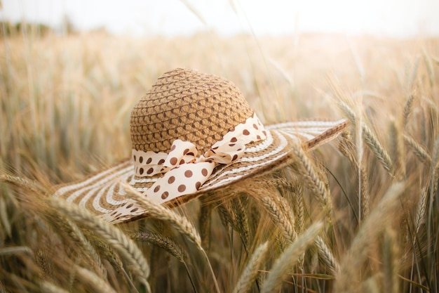 Selective focus shot of a wheat field with a straw hat on the foreground