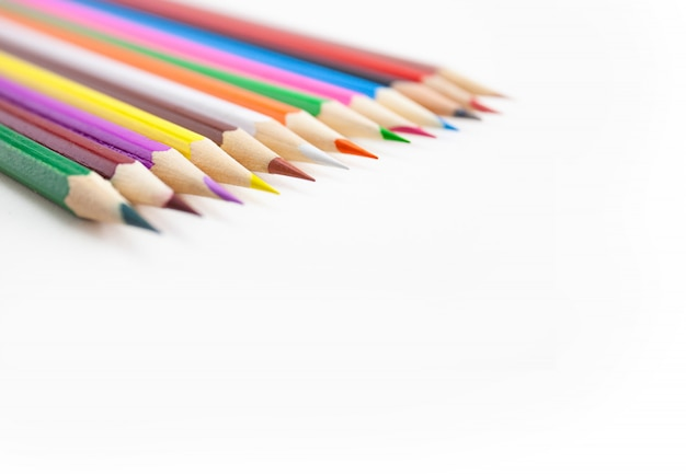 Selective focus on the tips of color pencils