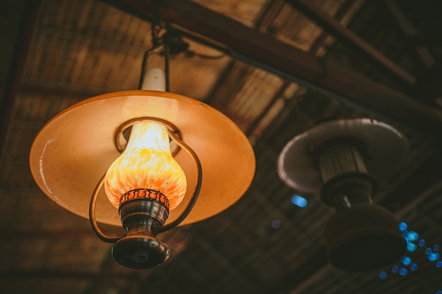 Selective focus vintage ceiling light