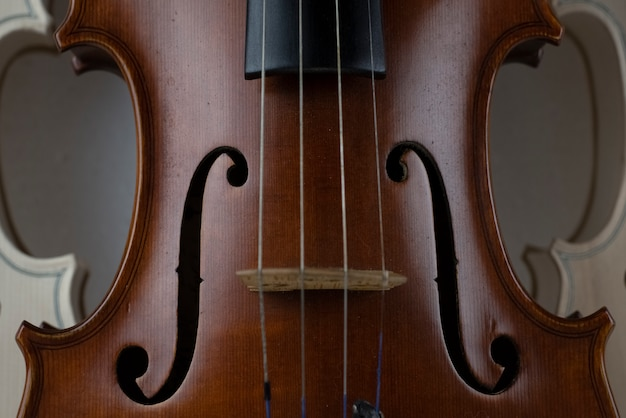 In selective focus of wooden violin, show texture of wood and detail of violin