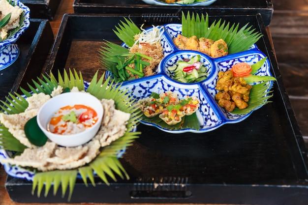 Selective focused thailand food platter