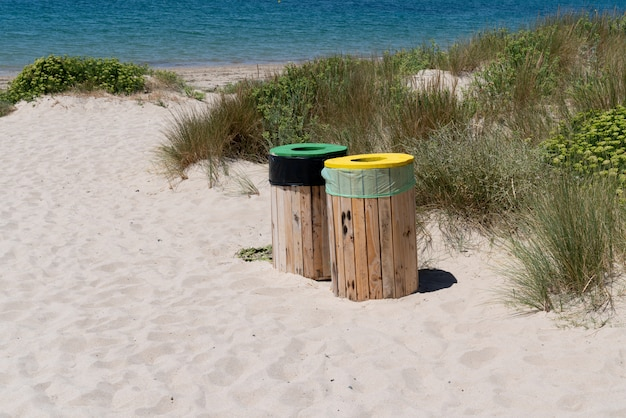 Selective sorting bin on the beach on vendee island of noirmoutier vendee france