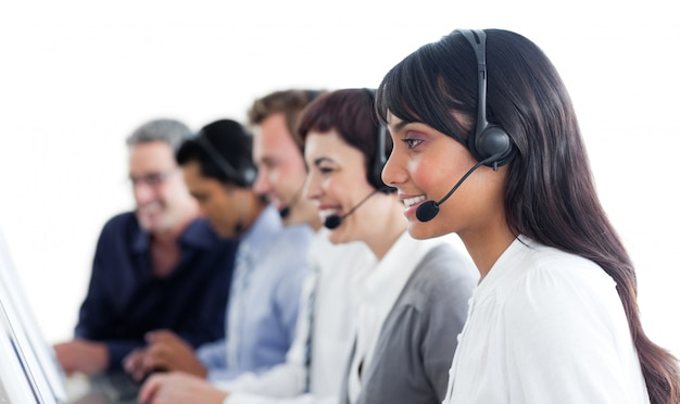Self-assured business people using headset