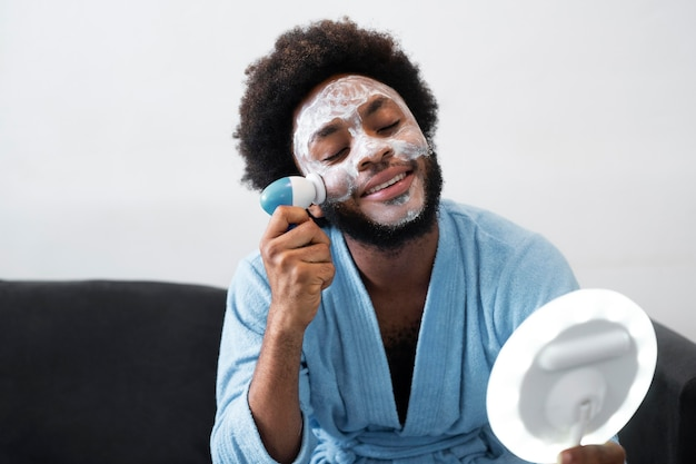 Self care at home with face mask
