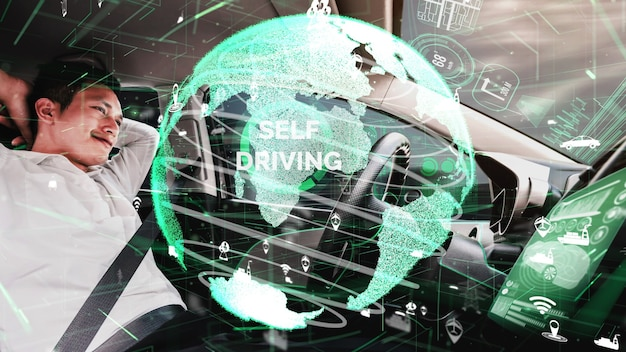 Self-drive autonomous car with man at driver seat conceptual