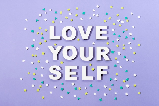 Self love lettering in paper style