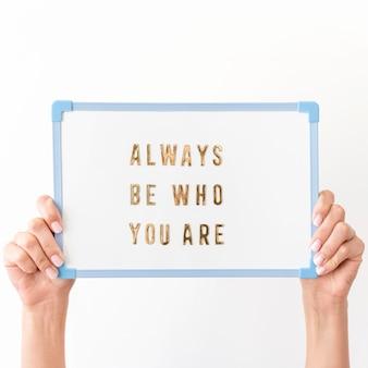 Self love message on board